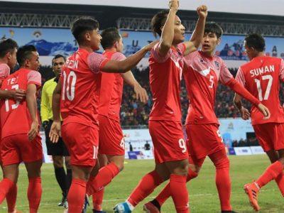 भुटानलाई २-१ गाेलले हराउँदै पुरुष फुटबलमा नेपाल विजयी