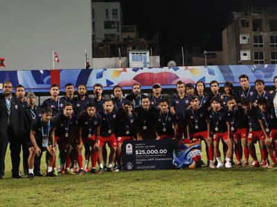 साफ च्याम्पियनसीपकाे उपाधि भारतकाे पाेल्टामा, नेपाल उप विजेता